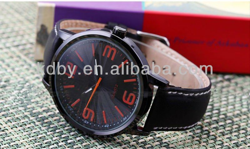 wholesale fashion luxury Men Black Leather Casual Sport Quartz Analog Orkina Watch