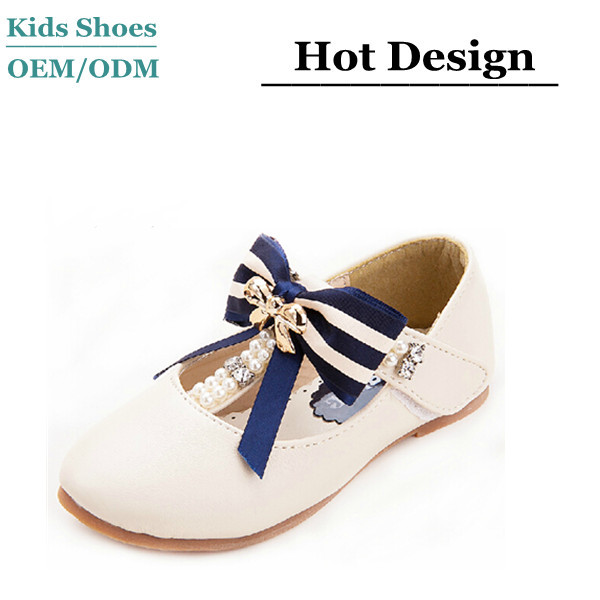 White sheepskin leather children school uniform shoes famous children shoes