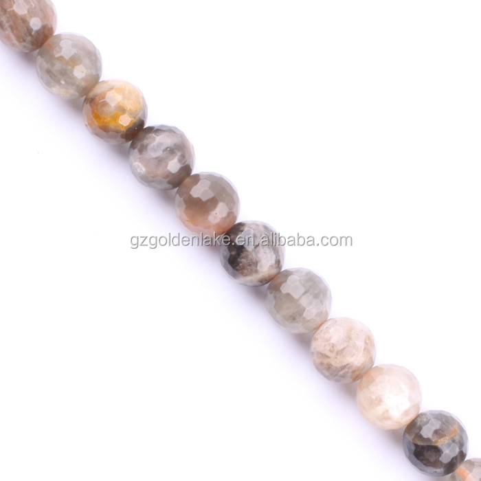 Wholesale Black Sunstone Faceted Round Semi Stone 128 faceted Natural Beads