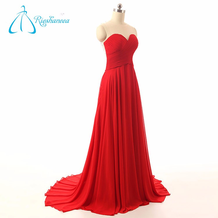 2017 Sweetheart Backless Pleats Appliques Red Women's Evening Dress Wholesale
