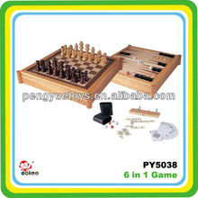 6 in 1 wooden game set in box