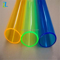 3mm thick plastic tube PMMA Material different sizes color of yellow acrylic tube
