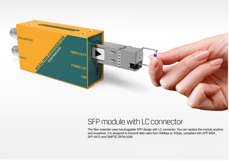 3G-SDI Fiber Optic Extener Scaling converter