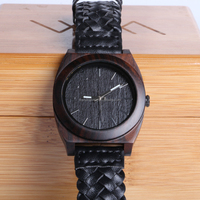 Wholesale men cool genuine leather band brand custom logo wood watch