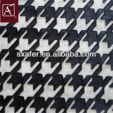 Black Embroidery Mesh Fabrics Design For Garment