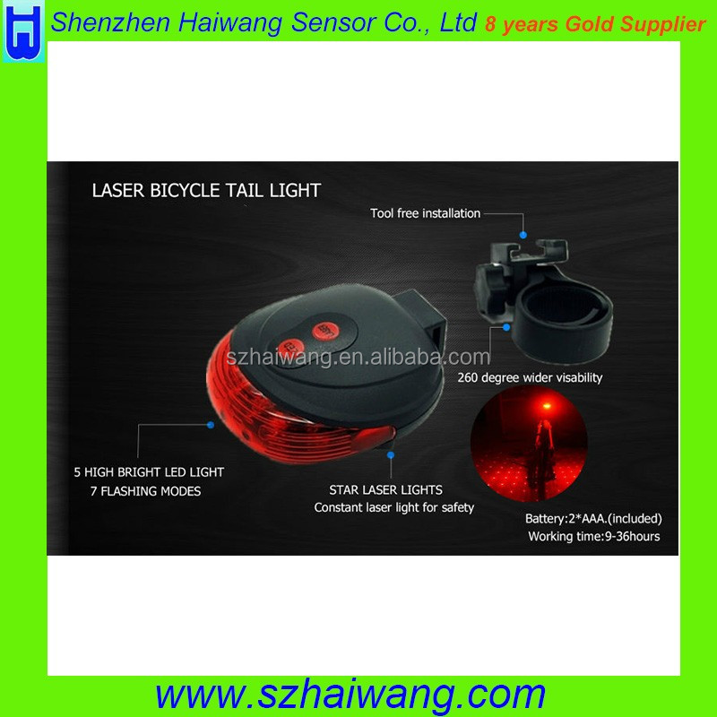 New Bicycle Accessories Rear Light Cycling Bike Bicycle Laser Rear Tail Light 2LED 7 Modes Lamp Flas with CE & RoHS
