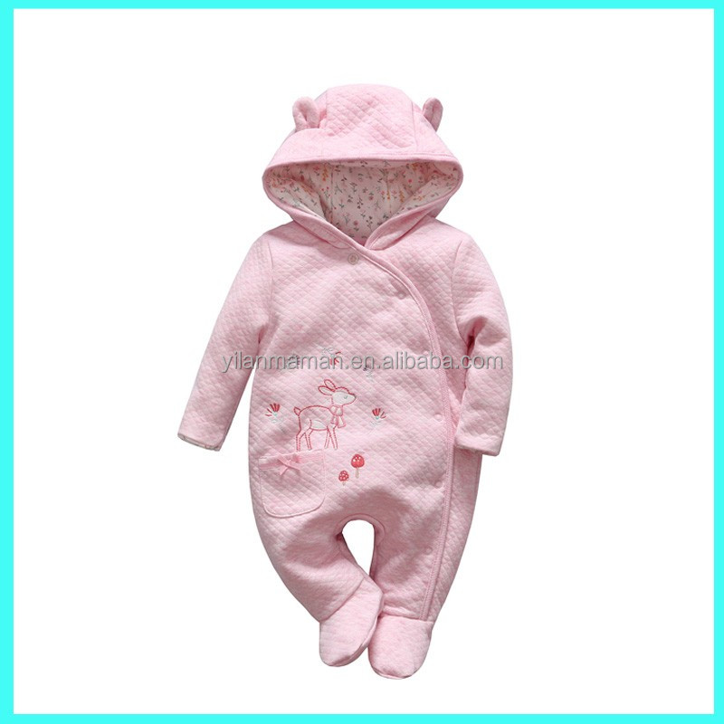 Girl's cute design infant's cotton / polyester knitted pramsuit pink baby rompers