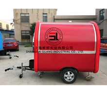 7.6 * 5.5ft red Food Van / Street Food Vending Cart For Sales, Hot Dog Cart / Mobile Food Trailer With Big Wheels in line with E