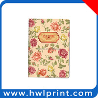 2015 Hot sale Clear hand out flower cover paper beautiful journal diary book