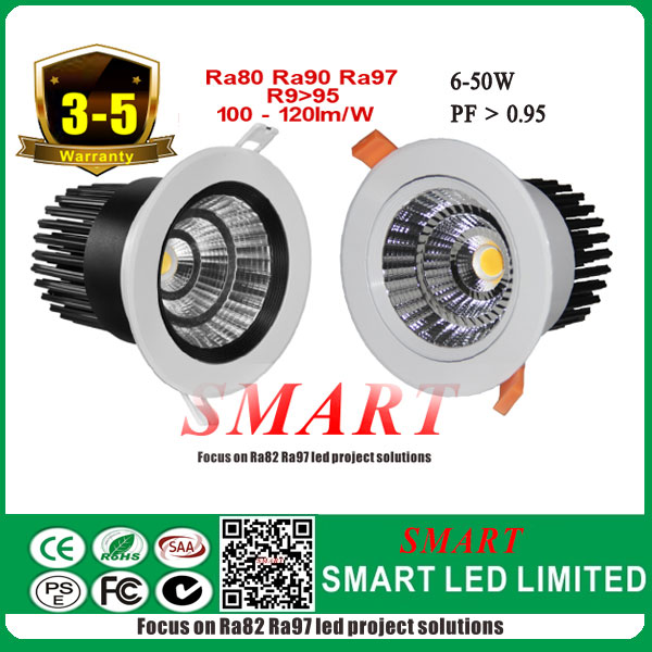 Ra80, Ra90, Ra97 (R9>95) White color 7-50w round led cob downlight , all certs listed