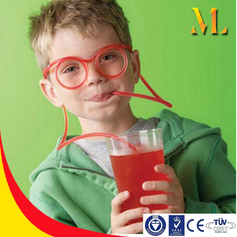 DIY Straw Children's Creative Cartoon Cute Fun Wacky Glasses Straw Toys Household item Drinkware