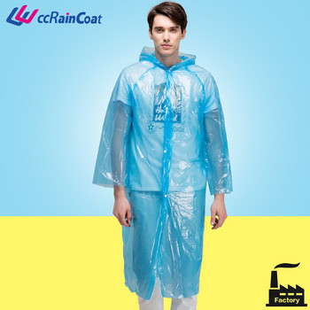 pe transparent plastic raincoats with buttons