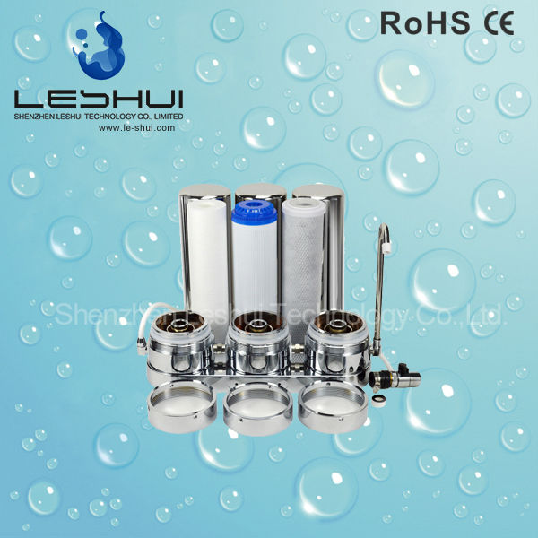 Home Use 304 Stainless Steel Water Filter System 3 Stage Clear UF Cartridge Filter Housing