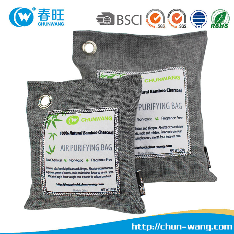 All Natural Bamboo Activated Charcoal Bag. Naturally Removes Odors, Bacteria, Mildew, and Moisture. Non-Toxic