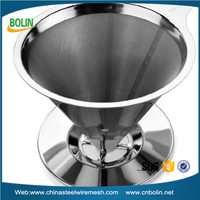 Stainless Steel Single Cup Coffee Dripper / Filter with Stand For Pour Over and Hand Drip Brewing Methods