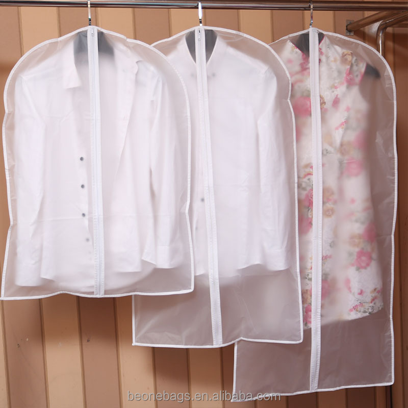 Wholesale dry cleaning hard clear plastic zipper garment bags