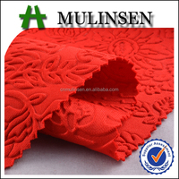 Mulinsen Textile 2014 Hot Sell New Product Knit Polyester Scuba 3D Embossed Garment Fabric in Walmart