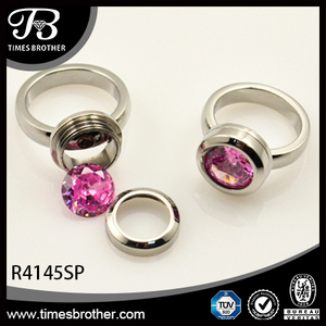 hardware connection ring interchangeable screw pink diamond ring