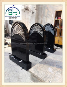 new design shanxi black granite tombstone, black upright monuments