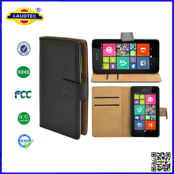 Luxury Genuine Real Leather Flip Case Wallet Cover For Nokia Lumia 530