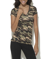 Girls Sexy Army printed V neck T shirts - camouflage