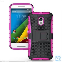 Shock Proof Hard Silicone Strong Case Cover with Stand For Motorola Moto G3