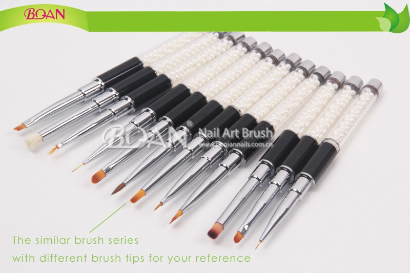 Black Metal Handle with White Pearl Blooming Nail Brush with Soft Synthetic Painting Brush Nail Tips