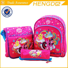 Pink My little pony school bags collection backpack , shoulder bag and pencil case with high quality for children