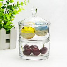 Double-deck design glass food jar clear detachable glass cookie jar with lid for hotel