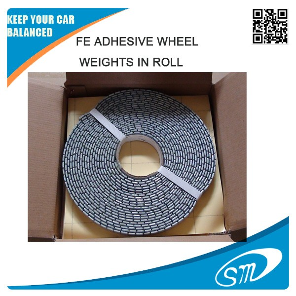 fe adhesive wheel balance weights in roll (5x1200g)/ZN plated and plastic coated adhesive wheel weight in roll