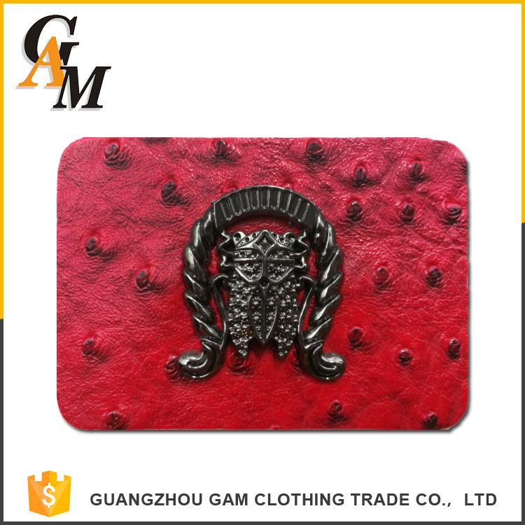 whole-sale Custom metal logo garment for clothing jeans handbags leather label