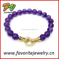 purple bead with gold heart charming glass pearl