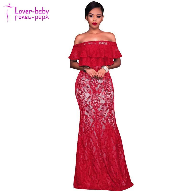 Freyja Red Lace Overlay Nude Off The Shoulder Maxi Dress