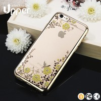 Cheap price mobile phone ultra transparent tpu case with luxury diamond 24kt gold crystal housing back cover for iphone 6 plus