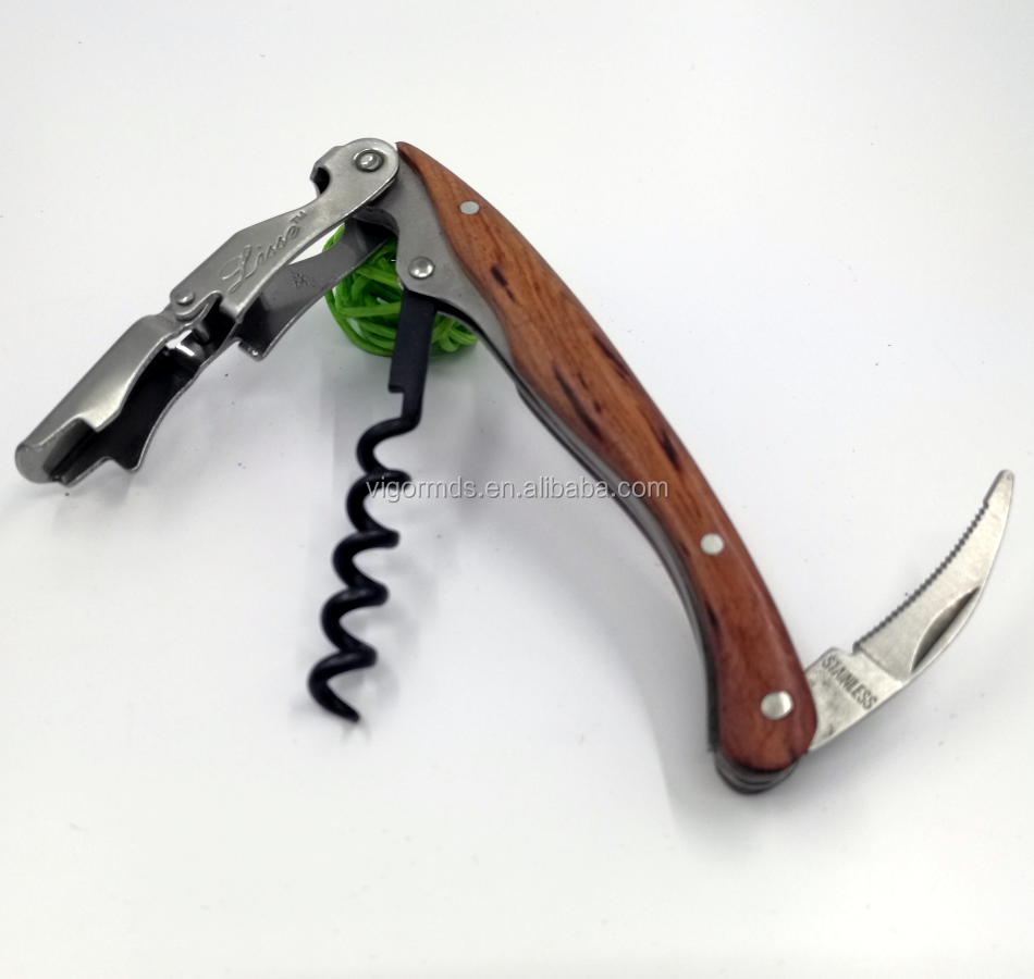 (OP-121RW) Classical Double Lever Rosewood High Quality Multipurpose Waiter's Friend Bottle Opener Wine Key Corkscrew