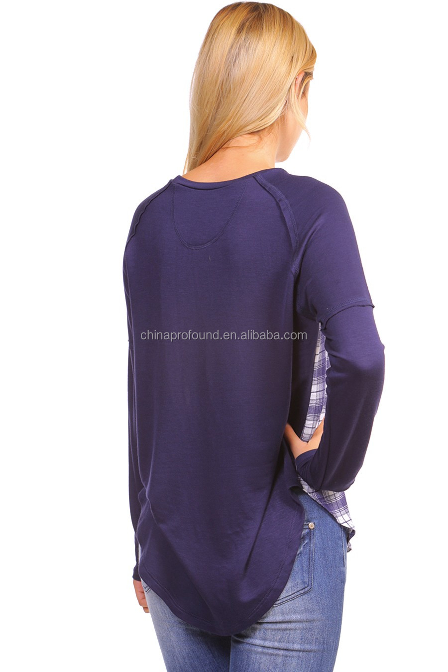 Custom women's long sleeve body checked raglan t shirt
