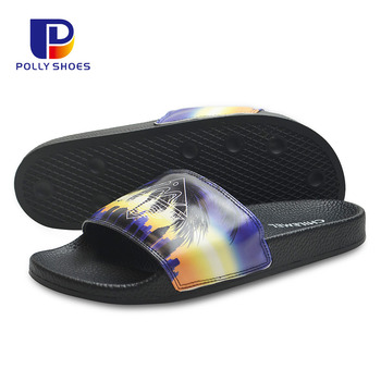 Non-Slip Portable Fashionable Custom Slides Shoe Gents Pu Slipper