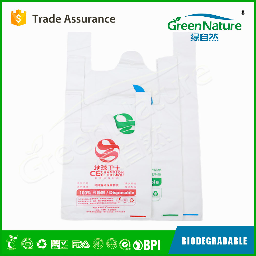 China manufacturer biodegradable shopping plastic bags with EN13432 ASTM D6400 OKhome certificate