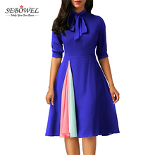 Slim Lady Bow Tie Half Sleeve Woman Spring Fashion Casual Dress