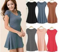 Women Summer Dress New Korean Girl Mini Dress Short Sleeve Candy Color One-piece Slim Basic Dresses