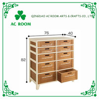 AC ROOM paulownia antique wooden shoe cabinet with seat