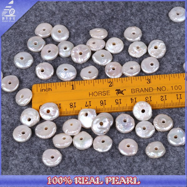 AA Quality 12-13mm White Coin Shape Pearl Beads Natural Large Hole Loose Pearls