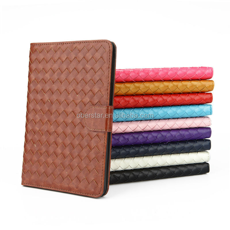 Newest Weave Pattern Design Leather Buckle Cover Stand Case for iPad mini 2 with Retina