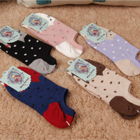animal cartoon socks, girls' ankle socks, cat designn socks