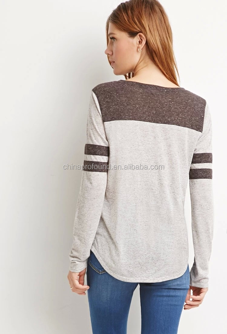 Autumn wear clothing custom heather casual plain loose two tone t-shirt for women