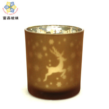 heat resistant votive flat cone shaped gold rim amber thick blue glass goblet bubble candle holder