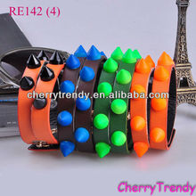 Neon Spike Beads Wrap Leather Bracelet for Girls