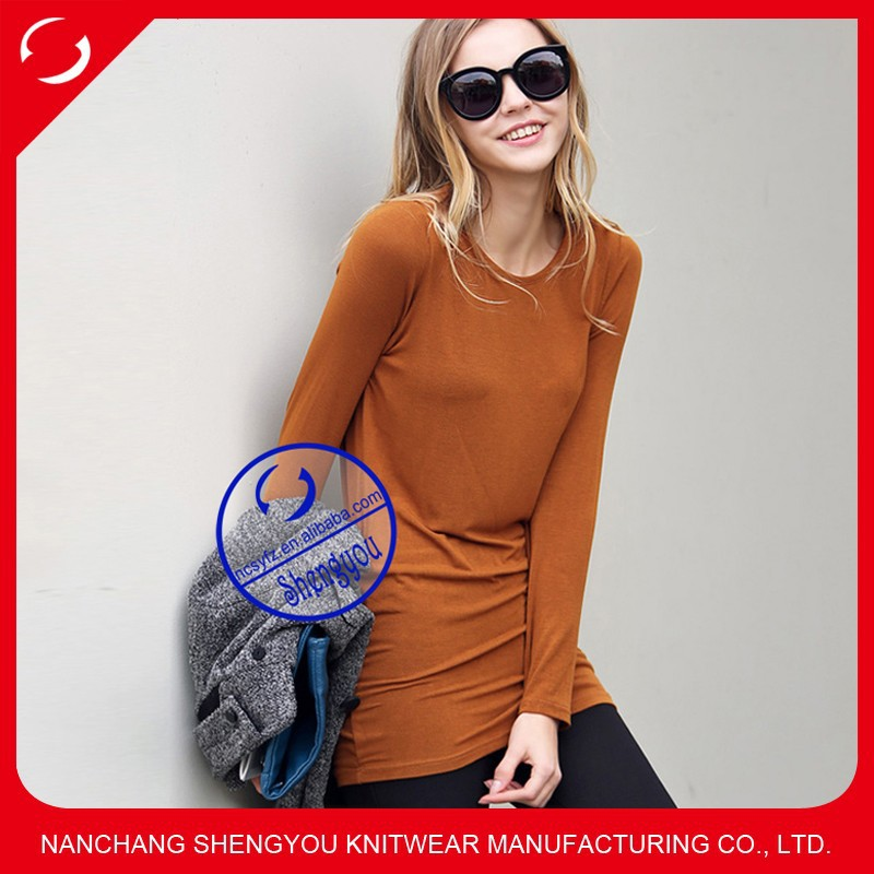 50% modal 50% cotton long sleeve tshirt whoesale china