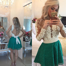 2017 New Arrival Coctail Dresses Beads Button Pearls vestidos de fiesta white Green Lace Long Sleeve Short Prom Dress MP1427
