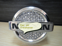 hot sale good quality oem custom metal brand logo car air freshener with diamond